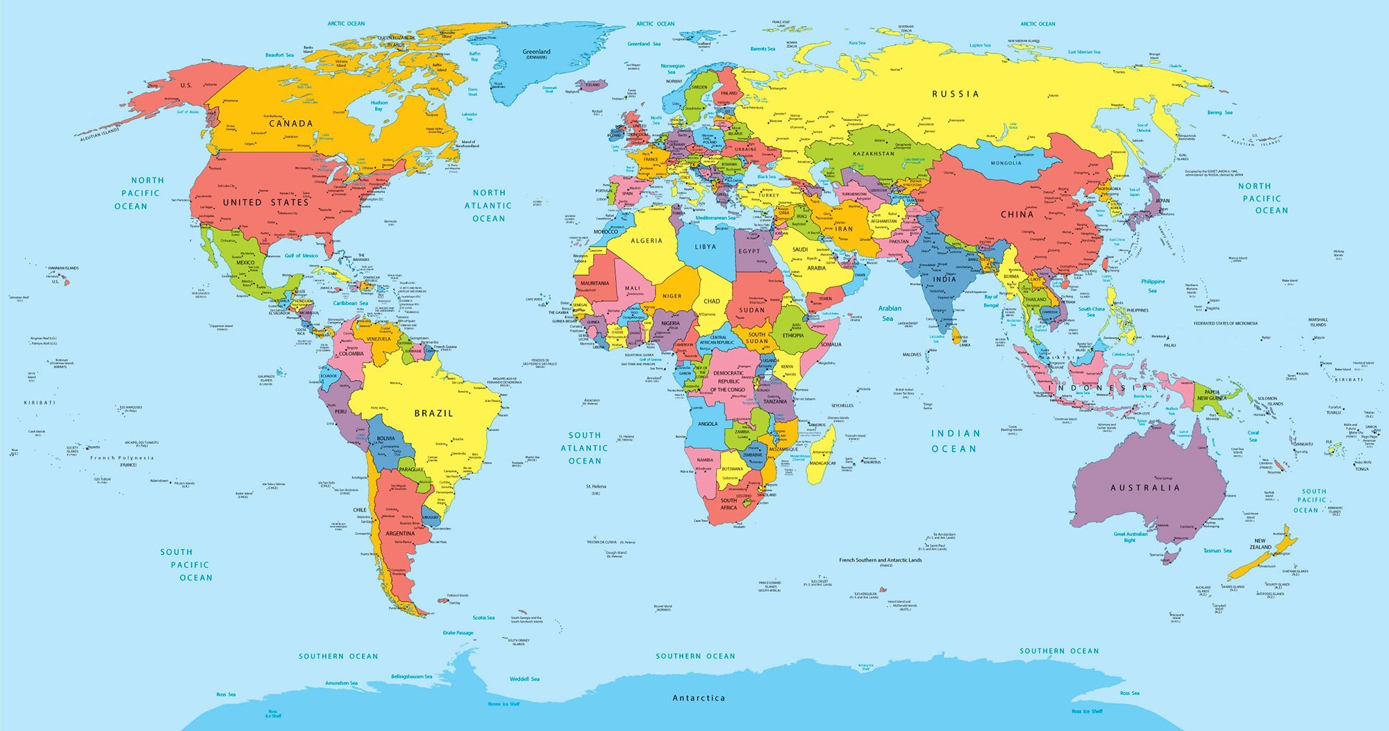 World-map-with-countries,-country-and-city-names